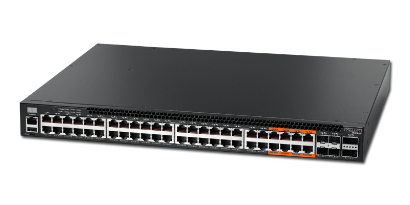 Edgecore AS4610-54P 48 port 10/100/1000Base-T switch with 48 PoE+ ports 1-8 port-to-power airflow